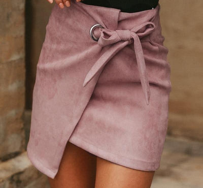 High-Waist Knotted Suede Skirt -