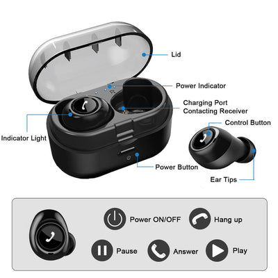 TWS Bluetooth Earphones With Dual Mic -