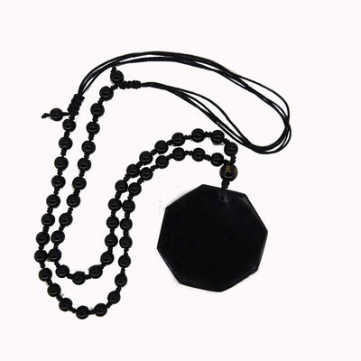 Chinese Pendant Black Obsidian Necklace -