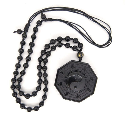 Chinese Pendant Black Obsidian Necklace