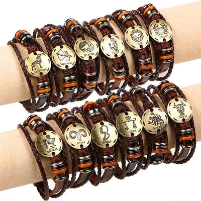 Cool Braided Leather Zodiac Bracelets -