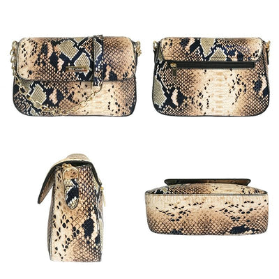 Snake PU Leather Shoulder Bag -