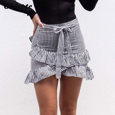 Black & White Plaid Skirt -