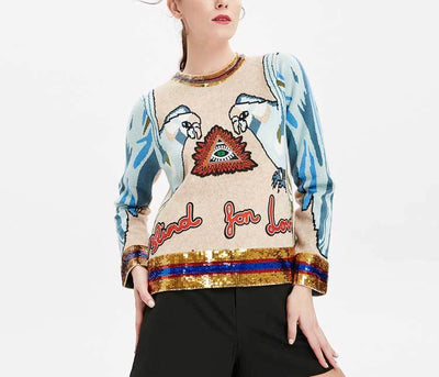 Boho Sequined Knitted Pullover -