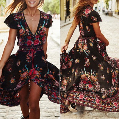 Boho Peacock Long Maxi Dresses -