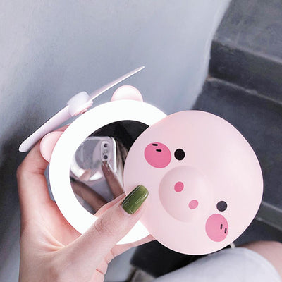 Portable LED Makeup Mirror with Mini Fan -