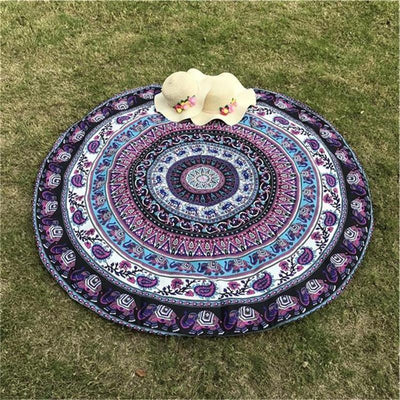 Indian Elephant Mandala Tapestry Mat -