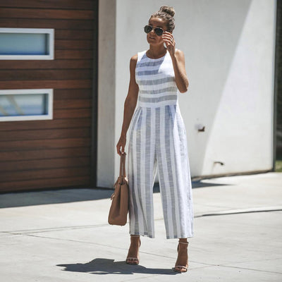 Casual Striped Jumpsuit -