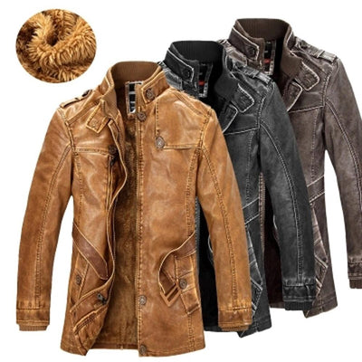 Classic Leather Motorcycle Jacket -
