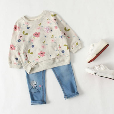 Girl's Cute Floral Pullover -