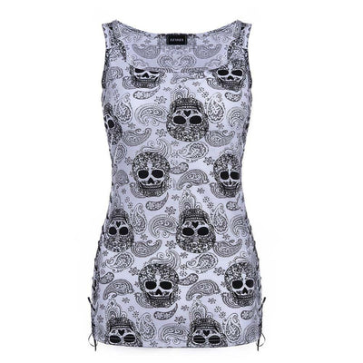 Skull Sleeveless Tops -
