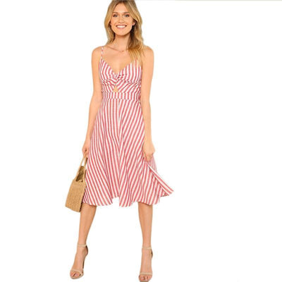 Red Backless Striped Beach V-neck Dress -
