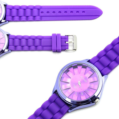 Jelly Band Flower Dial Wrist Watches -