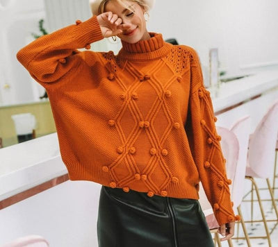 Oversize Knitted Turtleneck Sweater -