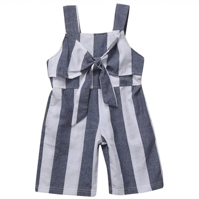 Bow-Knot Striped Jumpsuit -