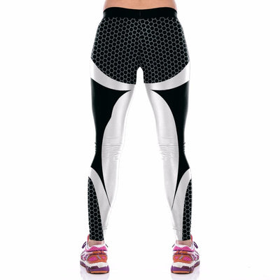 White Black Trousers Fitness Leggings -