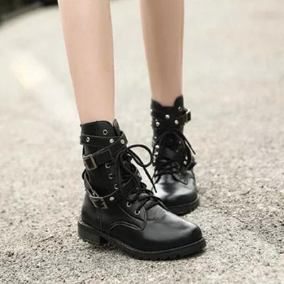 Women Lace Up Punk Short Boots