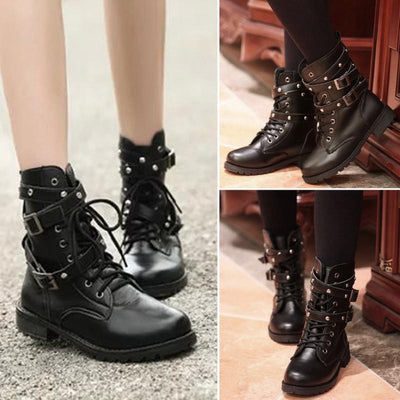 Women Lace Up Punk Short Boots -