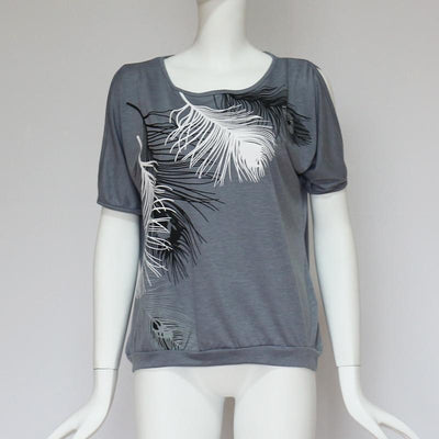 Feather Print Cold Shoulder T-Shirt -