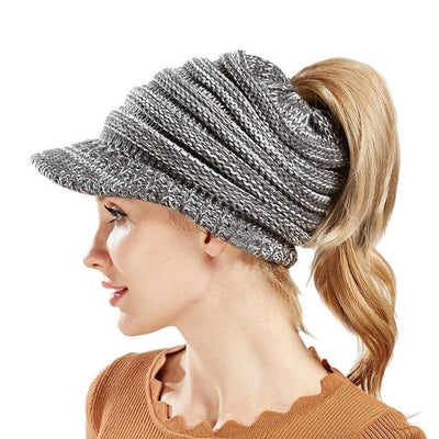Ponytail Warm Knitted Beanie With Visor - 8d764ca132c