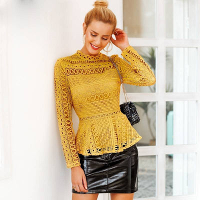 Hollow Out Lacy Peplum Tops -