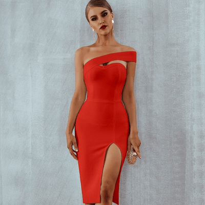Alyce Bodycon Bandage Dress - Red / XS