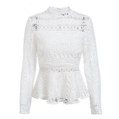 Hollow Out Lacy Peplum Tops - White / S