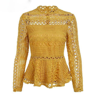 Hollow Out Lacy Peplum Tops - Yellow / S