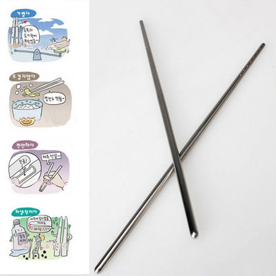 1 Pair High Quality Durable Stainless Steel Chopsticks Stylish Design Picnic Camping Hiking Tableware Tool Outdoor Dinnerware JC -