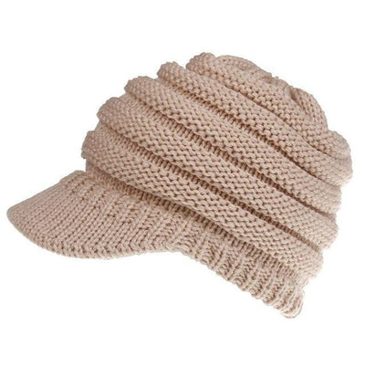 Ponytail Warm Knitted Beanie With Visor - Pink