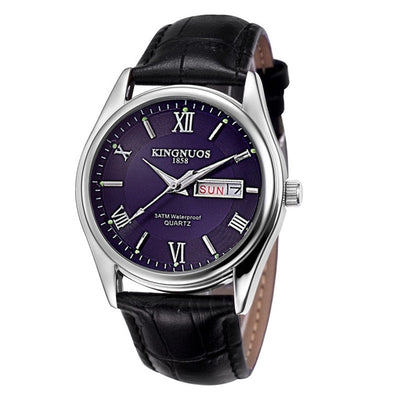 Mens Watches - Black Leather blue