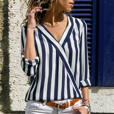 Striped Blouse - Navy Blue / S