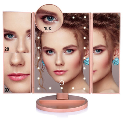 Touch Screen LED Makeup Mirror - 22 Lights Fold Gold