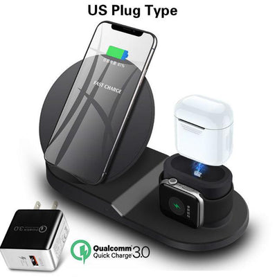 3 in 1 Wireless Charging Station - Black US plug