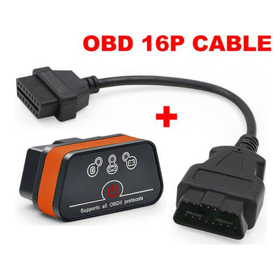 OBD2 Car Diagnostics Scanner - Black Orange With Cable