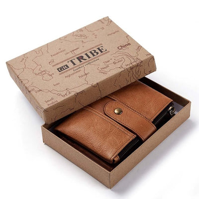 Genuine Leather RFID Wallet - Chain and BOX [691] / China
