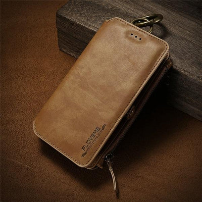 Business Leather Wallet Case - Classical Brown / For iPhone 7 8 Plus