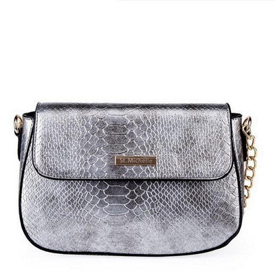 Snake PU Leather Shoulder Bag - Silver / 25x10x15cm