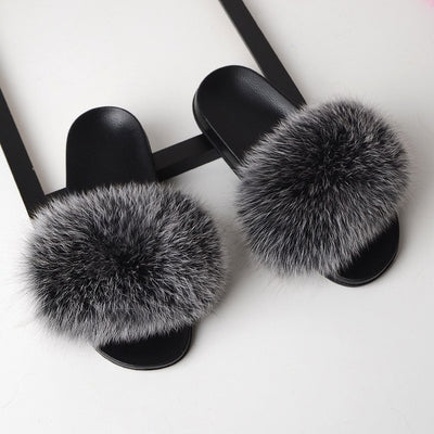 Fur Slippers for Women - Silver / 6