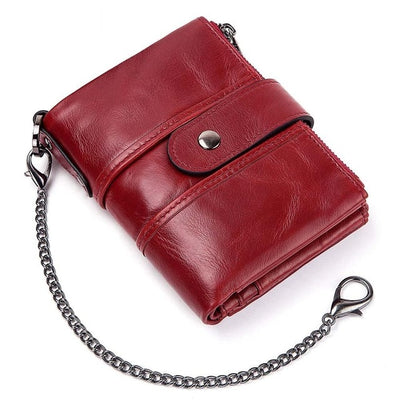 Genuine Leather RFID Wallet - With Chain [10] / China