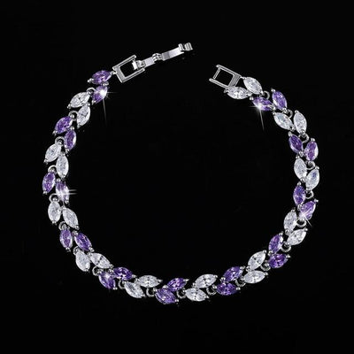 Cubic Zirconia Leaves Bracelet - Purple