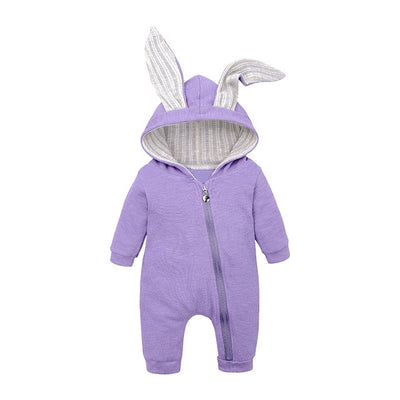 Bunny Rompers For Baby - Purple / 3M