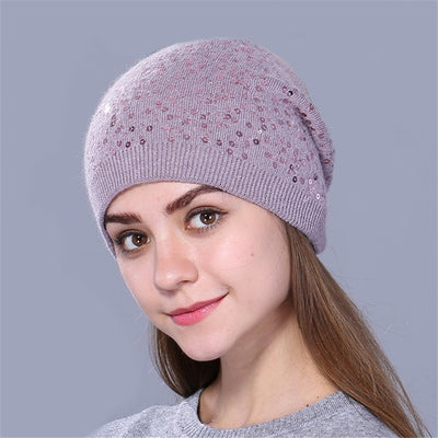 Knitted Hat for Women - Purple
