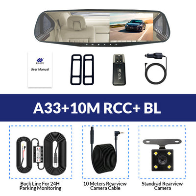 Car Rear View Mirror With Camera - A33-10M RCC-BL / With 8G TF Card