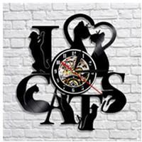 S1P I Love Cats Vinyl LED Wall Clock -