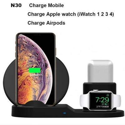 3 in 1 Qi Wireless Charger - White / N30 only