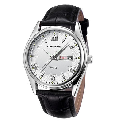 Mens Watches - Black Leather white