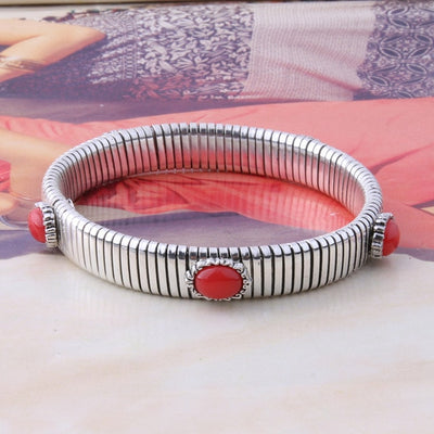 Chain Bracelet - 10mm Silver red