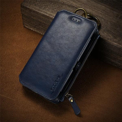 Business Leather Wallet Case - Charming Blue / For iPhone 7 8 Plus