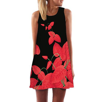 Sleeveless Summer Dress - black red / S